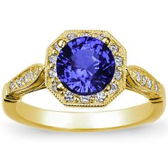 18K Yellow Gold Sapphire Victorian Halo Ring from Brilliant Earth--Halo settings are showstoppers without being over the top.