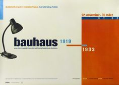 This is a very good example of The New Typography, the 1920s movement in graphic design that was promoted at the Bauhaus. Even though this poster was designed eighty years later in 2002, it shows the New Typography principles of asymmetry and grid layout. Note the alignments of text, the reversals of letters and numbers, and the contrast of type size and colour. These features create movement and energy – the eye moves freely around the design.  Stiftung Bauhaus Dessau 1998