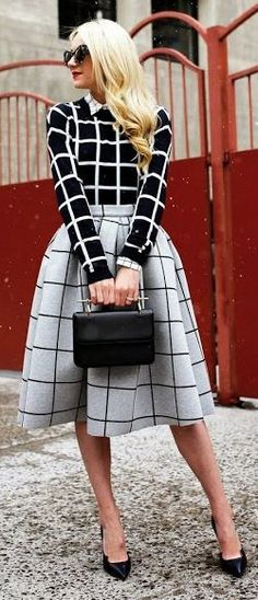 Street style fashion / karen cox. Black And White Windowpane by Atlantic - Pacific