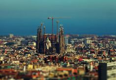 Sagrada familia Barcelona tilt-shift effect