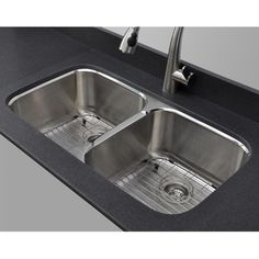 ***Wells Sinkware 18 Gauge 50/50 Double Bowl Undermount Stainless Steel Kitchen Sink Package $377.99 1st choice for rounded bowls