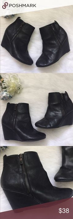 BCBGeneration Black ankle wedge Boots BCBGeneration Black ankle wedge Boots. Size 6 1/2 BCBGeneration Shoes Ankle Boots & Booties