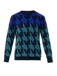 Hound's-tooth mohair-blend sweater | PS By Paul Smith | MATCHE...