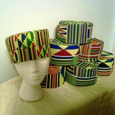 ASSORTED AFRICAN KENTE KUFI HAT -