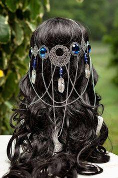 Hair Jewelry Beautiful handmade one of a kind sapphire blue coloured dreamcatcher goddess circlet - Head Jewelry, Body Jewelry, Hair Jewellery, Wedding Jewelry, Circlet, Cosplay, Fantasy Jewelry, Fantasy Hair, Headdress