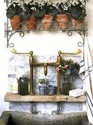 Rustic garden sink for potting shed or greenhouse. Garden Deco, Dream Garden, Home And Garden, Garden Sink, Garden Bathroom, Garden Table, Herb Garden, Outdoor Sinks, Happy September