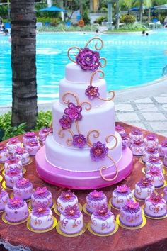 LOVE the idea of a main cake plus lots of similarly decorated cupcakes. This has always been my dream wedding cake! Gorgeous Cakes, Pretty Cakes, Cute Cakes, Amazing Cakes, Fancy Cakes, Mini Cakes, Cupcake Cakes, Cupcake Ideas, Quince Cakes