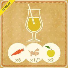 8 Carote, 1/2 ginger medio, 2 mele e 1 manciata di menta fresca se piace.  0 grassi e solo 211 calorie per porzione: un inizio di giornata dinamico e rigenerante, per chi non rinuncia a iniziare la settimana con una sferzata di energia!