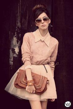 light pink Espao 1098 jumper - tan asos boots - peach MINUSEY skirt