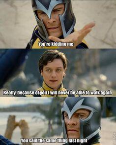 "Epic Answers: - ""Give me one good reason I should stop."" - ""I'm pregnant."" X Men First Class Humor. Marvel Jokes, Marvel Funny, Hulk, Loki, Charles Erik, X Men Funny, Cherik, Man Movies, Man Thing Marvel"