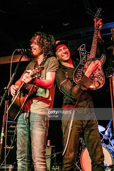 Chris Cornell and Tom Morello perform together for the '15 Now' Benefit Show at El Corazn on September 26, 2014 in Seattle, Washington.
