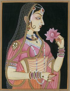 Portrait of a Princess, Mughal Watercolor on Paper Pichwai Paintings, Mughal Paintings, Indian Art Paintings, Rajasthani Painting, Rajasthani Art, Madhubani Art, Madhubani Painting, Indian Traditional Paintings, Traditional Art