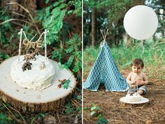 Benjamin's woodland cake smash! He finally turned one and for his birthday, I made him a homemade cake with woodland creatures on top. I love how my diy teepee came out. I couldn't be happier with the outcome of my efforts!
