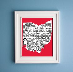 University of Cincinnati Print by KenmoreHouse on Etsy,// might need to change the words a bit but I like it