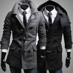 Slim Fit Fashion Men Toggle Wool Coat with Removable Hood | Sneak Outfitters