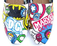 The Heroes Superheroes Custom TOMS by FruitfulFeet on Etsy Wonder Woman Shoes, Custom Painted Shoes, Custom Shoes, Diy Clothes And Shoes, Superhero Classroom, Kids Toms, Toms Outlet, Marvel Vs, Shoe Art
