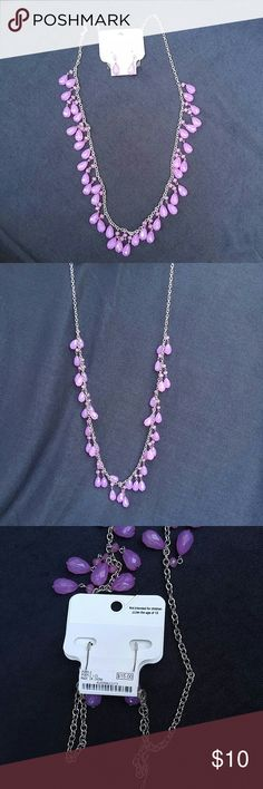 Light purple necklace with earrings Brand new with tags. Long Charming Charlie silver necklace with light purple beads. Comes with matching earrings. Great to wear with a tank top or shirt. Comes from a smoke-free home. Charming Charlie Jewelry Necklaces