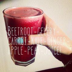 beetroot - celery - carrot - kale - ginger - apple - pear - juice