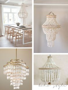 Hot or Not Beaded Shell Chandeliers Wood Bead Chandelier, Chandelier Lighting, Beach Chandelier, Iron Chandeliers, Deco Boheme Chic, Diy Home Decor Bedroom, Light Fittings, Lampshades, Decoration