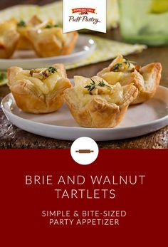 Have a holiday party this weekend? Perfectly beautiful on an appetizer buffet, these bite-sized Puff Pastry Brie and Walnut Tartlets will charm your guests. Mustard and brown sugar add to the classic combination of Brie and walnuts for terrific flavor.