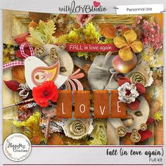 Fall (in love again) - digital scrapbooking kit from HappyNess Creations. This fall inspired kit will add that special touch to your autumn photos.