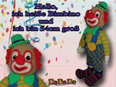 der Clown Bimbino, die Kuschel Puppe für Fasching - gehäkelt von Dadade