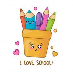 Set Of Kawaii School Supplies, Back To School Concept, Kawaii Doodles, Cute Kawaii Drawings, Cute Doodles, Easy Doodles Drawings, Simple Doodles, Cute Flower Drawing, Doodles Bonitos, Images Kawaii, Image Svg