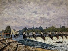 Alfred Sisley (French: 1839 – 1899), Molesey Weir – Morning, one of the paintings executed by Sisley on his visit to Britain in 1874.