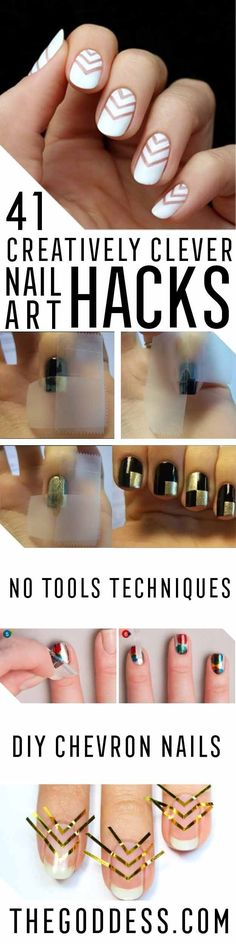 Creatively Clever Nail Art Hacks - Easy DIY Ideas, Tips, And Tutorials For Nail Art Hacks.  Every Girl Needs To Try These Awesome Ideas For Glitter, That Go Great With Makeup That Is Simple And It Works.  These Hacks Are Step By Step And Easy And Clever - http://thegoddess.com/nail-art-hacks