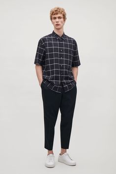 COS image 1 of Oversized short-sleeve check shirt in Dark Navy