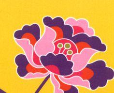 "60"" Cotton, #1228 Beautiful Purple/Pink/Orange Floral Print on Golden Yellow"