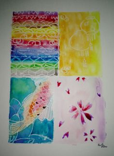 watercolor resist on white wax  approximately 9x12  you will get the original…