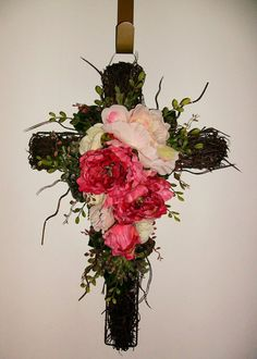 cross floral wall decor