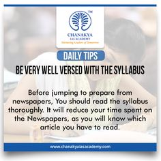 #DailyTips   #BeVeryWellVersedWithTheSyllabus   #CurrentAffairs   Before jumping to prepare from newspapers, You should read the syllabus thoroughly. It will reduce your time spent on the Newspapers, as you will know which article you have to read.   #UPSC #IasExam brought to you by #ChanakyaIasAcademy