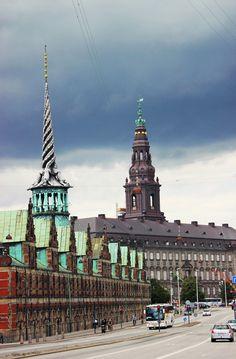 In front 'Børsen' the old Stock Exchange. In the background Christiansborg - the Danish parlament in Copenhague - Copenhagen - Danemark - Denmark