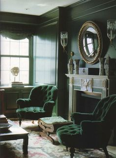 Moody classic styled green living room in malachite tones with accents in gold! Lush velvet green armchairs really steal the show for me! Interior by William Diamond and Anthony Baratta, The World of Interiors, January 1994. Photograph by Henry Bourne.