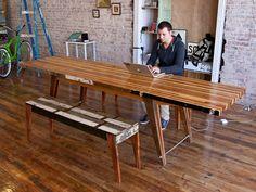 table faite avec des restants de bois