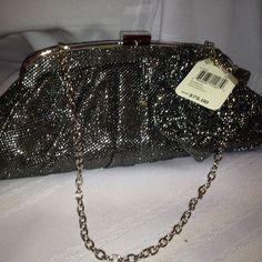 New Jessica McClintock V6102861 Silver Black Metallic Clutch 2 Evening Bag #McCLINTOCK #EveningBag