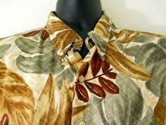 Ralph Lauren Chaps Hawaiian Mens Large Shirt  Green Brown Red Leaves #RalphLaurenChaps #Hawaiian