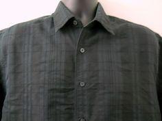 Cubavera Black Shirt Mens Large Subtle Black Vertical Stitching No Pockets #Cubavera #ButtonFront
