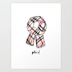 Plaid Scarf :: Winter Essentials :: Watercolor Illustration :: Brush Calligraphy :: #saffronavenueshop