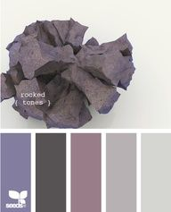 Rocked hues.  I definitely love this for our next bedroom.  The soft purples are romantic, but the silver and slate colors might help tone down the overt femininity, making it a more appealing space for my husband.  Lots of lush fabrics like velvet and raw silk, plus my black fur duvet cover would make this a soft and romantic getaway at the end of the day.