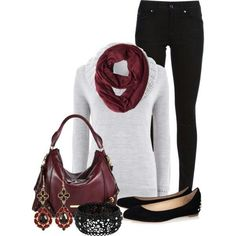 White sweater, red scarf & flats