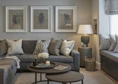 deco salon gris, différentes nuances du gris, combinés ave du marron, couleur grise prédominante