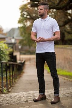 Men's White Polo, Black Jeans, Brown Leather Chelsea Boots