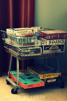 square vintage laundry basket | perfect to hold board games | Farmgirl Paints: la la land