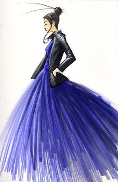 (••)                                                        Fashion Design Sketches Dresses Pic fashionsketch, fashion sketches, fashion design, fashion art, dresses, leather jackets, fashion illustrations, blues, design sketch