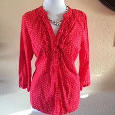 Lauren Conrad red ruffle front polka dot top Gently used. 100% cotton Lauren Conrad Tops