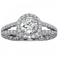2.08 CT TW Pave Set Round Diamond Halo Engagement Ring in 14k White Gold - Size 8.5
