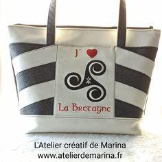 Sac Biguine en similis noir et blanc brodé cousu par L'atelier créatif de Marina - Patron Sacôtin